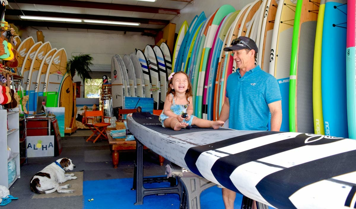 SoBe Surf Paddle Board Shop Florida Cocoa Beach Merritt Island Miami Owner Girard Middleton with daughter Audrey